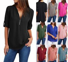 Womens V-Neck Zipper Beach Dress Shirt Ladies Long Sleeve Cover Up V Neck Tops