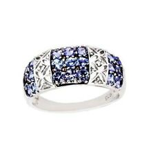 Natural Tanzanite Cluster Ring Band Sterling Silver 14k white gold over