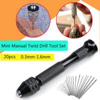20Pc Mini Micro Hand Drill Mini 0.3-1.6mm Bit Keyless Chuck Set Pin Vise Rotary