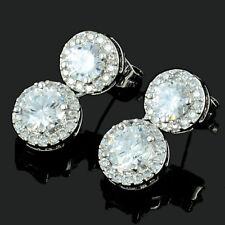 Sarotta 18K White Gold Gp Cubic Zirconia Round White Topaz Drop Earrings