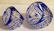 Pair Of Beautiful Cobalt Cut To Clear Art Glass Baskets