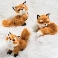 Raz Imports Fox Christmas Tree Ornaments Plush Faux Fur Set of 3