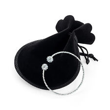 Silver Coloured Ball Cuff Bangle Ladies Fashion Jewellery with gift bag
