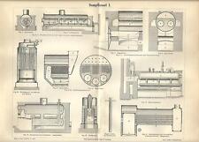 Stampa antica CALDAIA A VAPORE Tav. 1 termoidraulica 1890 Old antique print