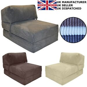 GILDA CORDUROY CHAIR Z BED Single Fold Out Chairbed Folding Guest Sofa bed foam