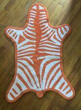 Jonathan Adler faux Zebra pelt Bath Rug Mat Orange 100% cotton reversible Vg