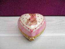 boite Ours cœur en porcelaine Bradford Exchange avec horloge /clock Teddy Bear