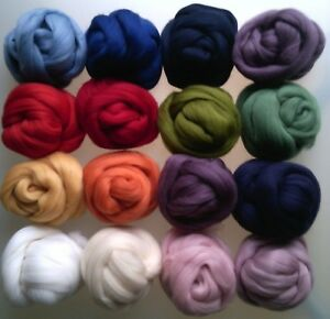 63 Colours 100% Pure Merino Wool Tops Roving for Dry and Wet Felting, 10 - 200 g