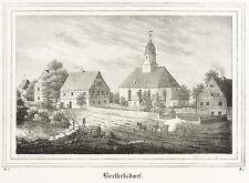 BERTHELSDORF (WEISSENBORN) - Dorfkern mit Kirche - Lithografie 1838