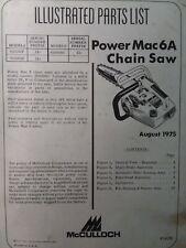 Mcculloch Chain Saw Power Mac 6a 600088f Parts Manual 2 Cycle Gas Chainsaw 1975