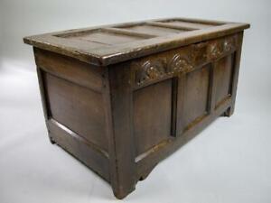 Antique 17th Century Three Panel Carved Oak Coffer / Blanket Box.