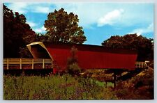 Winterset Red Covered Bridge, Iowa Madison County Chrome Postcard Unused