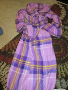 Snuggie Fleece Wearable Blanket w/ Sleeves Pocket Microfiber Warm Purple Plaid