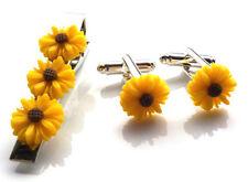GORGEOUS HANDMADE UNIQUE TIE PIN AND CUFFLINKS SET SUN FLOWER + FREE GIFT BAG