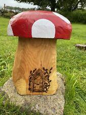 Chainsaw Carved Mushroom  Garden Toadstool Fairy Garden Pyrography Fairy Door