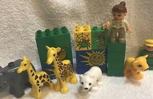 Lego Duplo Mixed Lot Zoo Keeper & Animals Blocks Collectible & Fun Playset