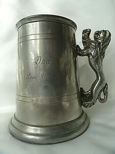 Vintage English Pewter Made Sheffield Beer Mug Tankard 12 cm.
