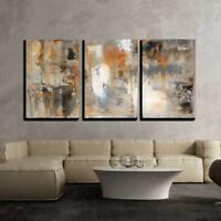 "Wall26 - Brown and Beige Abstract Art Painting- Canvas Wall Art- 24""x36""x3 Panel"