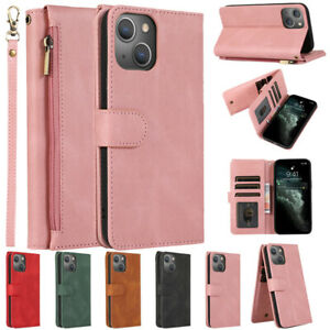 For iPhone 13 12 Pro Max 11 XS XR X 8 7 Shockproof Leather Wallet Zip Case Cover