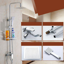 Chrome Bathroom Units Rainfall Shower Head &Handshower Mixer Tap with Shelf Kit