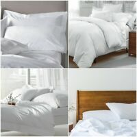 LUXURY WHITE FITTED/FLAT/ DUVET COVER HOTEL QUALITY SINGLE DOUBLE KING ALL SIZES