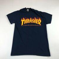Thrasher Magazine Mens Navy Blue Spellout Skate Short Sleeve T Shirt Small