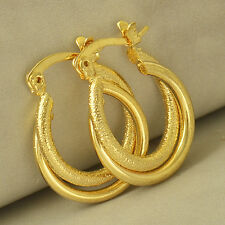 Exquisite 9K Yellow Gold Filled Embossed Womens Hoop Earrings,Z4943