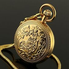 Mens Pocket Watch Mechanical Gold Face Hand-winding Tourbillon Design Luxury