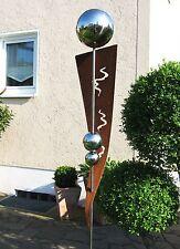 Stele Gartendeko Edelstahl Kugel Rost Risse rostig Nr.2