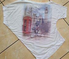 Par Saros Asymétrique T-shirt London Slogan Imprimé Big Ben Vie est mieux Taille S M