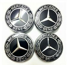 4x Mercedes-Benz Nabendeckel Nabenkappen Felgendeckel 75mm Schwarz/Chrom NEU