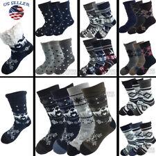 Mens Cozy Fuzzy Thick Sherpa Fleece Lined Grid Knit Non-Skid Slipper Socks LOT..
