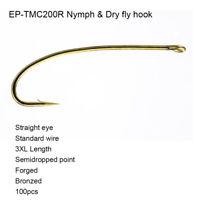 Eupheng 100pcs EP-TMC-200R Nymph Dry Straight Forged Bronze Fly Fishing Hooks