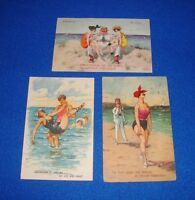 Vintage Lot of Three Thiele Humorous Beach Swimming Postcards