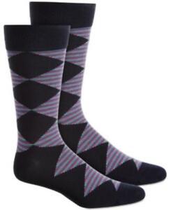 MSRP $10 Alfani Men's Diamond Striped Socks Blue One Size