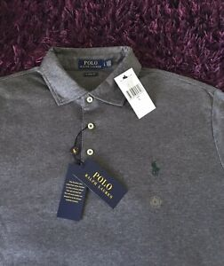BNWT Smart 100% Genuine Ralph Lauren Classic Fit Grey Polo Shirt In Large