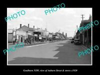 OLD LARGE HISTORIC PHOTO OF GOULBURN NSW, VIEW OF AUBURN St & STORES c1920