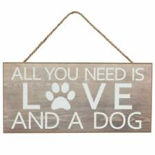 """All You Need is Love and A Dog Sign - 12.5"""" x 6"""", Rustic Wooden Decoration"""