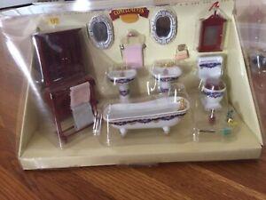 NIB Porcelain double Sink Set Dollhouse 1:12