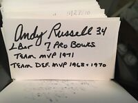 Andy Russell 7 Pro Bowls Pittsburgh Steelers   Signed 3x5 index Card