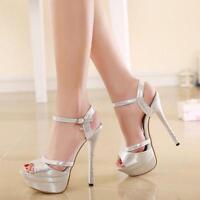 Women High Heels Platform Stilettos Peep Toe ankle strap Buckle Shoes Sandal XL