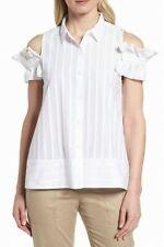 Nordstrom White Womens Ruffle Trim Button Down Shirt 12723 Size S