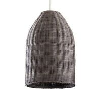 Modern LED Rattan Wicker Ceiling Pendant Shade Grey Finish Vintage Filament Bulb