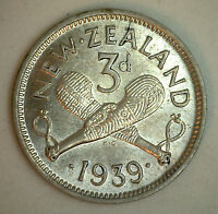 1939 Silver New Zealand Three Pence Coin XF