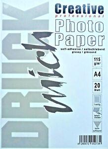 Fotopapier selbstklebend 20 Blatt A4 115g g/m² glossy 1-seitig Aufkleber Sticker