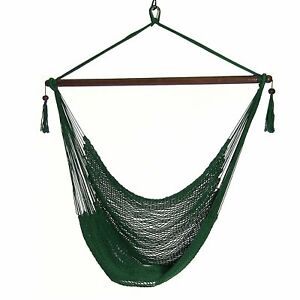 Sunnydaze Soft Polyester Extra-Large Hanging Rope Caribbean Hammock Chair -Green