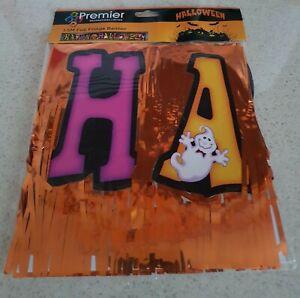 HALLOWEEN Party 1.5M Foil Fringe Banner Pumpkins & Ghosts NEW SEALED