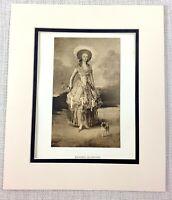 1922 Antico Stampa Goya Ritratto Pittura di Un Lady The Marquesa De Pontejos