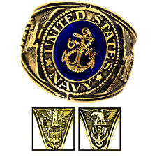 Official US Navy Deluxe Engraved Gold Color Ring -Size 15
