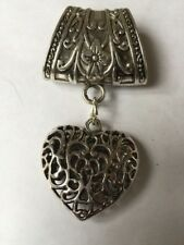 Filigree Heart Antique Silver Scarf Pendant/Necklace Valentines Day Gift